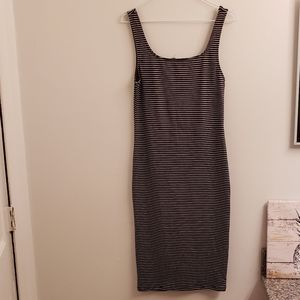 Heart & Hips striped body con midi tank dress sz L